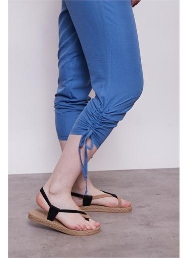 Jument İç Göstermez Viskon Poplin Beli Lastikli Cepli Paçası Büzgülü Rahat Pantolon -Mint İndigo